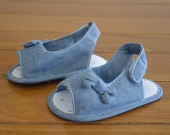 Denim sandals, Baby girl, Baby Shoes, Toddler shoes, baby shower, baby present, summer, prewalkers, bow, denim