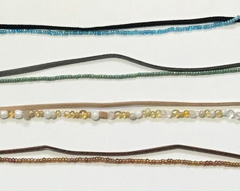 Faux Suede and Beaded Double Strand Anklet
