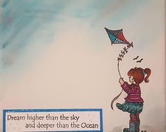 Girl flying kite on canvas