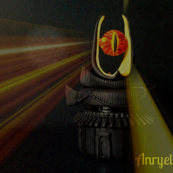 The Lord of the rings LOTR FAN ART-Barad Dur Sauron's Eye Jewelry Box  handmade fimo glass jar Mordor - The Lord Of The Rings LOTR FAN ART-Barad Dur Sauron's Eye
