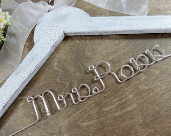Shabby Chic Rustic Wedding Dress Hangers - Crackled Bridal Hangers - Personalized Hangers - Name Hangers - Rustic Name Hanger - Unique