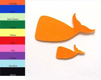 25 Pack - Paper Whale Shape, Whale Die Cut, Whale Cut Outs, Paper Party Supplies, Paper Animal Shapes