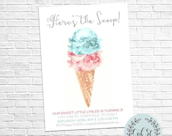 HALF OFF Ice Cream Party, Modern Watercolor Ice Cream Cone Invitation, 2nd - 3rd - 4th - 5th - 6th - 7th - 8th - 9th Birthday
