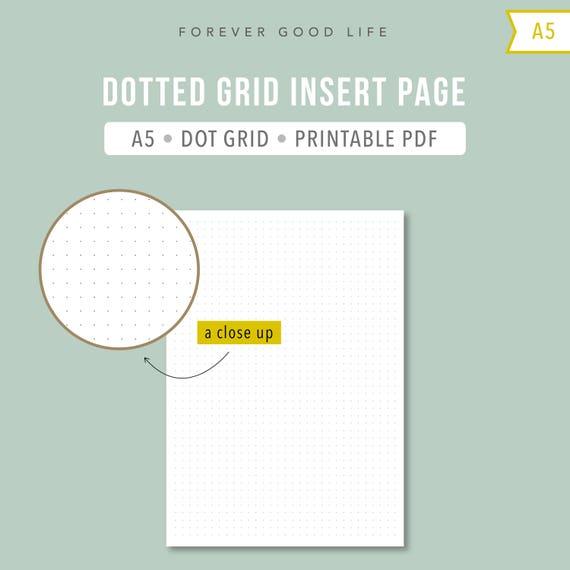 PRINTABLE A5 Dot Grid Inserts Bullet Journal Insert BuJo