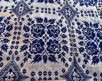 1839 Overshot Coverlet,Antique Coverlet,Hand Woven Bed Spread,Antique Textile,Bed Spread,Indigo  Natural Dye Coverlet,Brides Coverlet,
