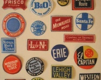 TRAINS RAILROAD Signs Small Fabric Appliques Iron-on 40 Pc  L & N Union Pacific Rock Island Etc