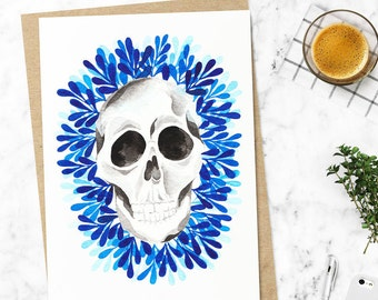 Ilustration. Skull decor. Mexican Skull. Framed art. Free shipping. On sale. Limited Edition. Skull drawing. Day of the dead. Special gift.