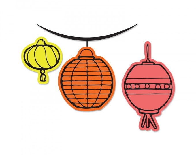 New! (will ship May 24th) Sizzix Framelits Die Set 3PK w/Stamps - Lanterns by Katelyn Lizardi 662926