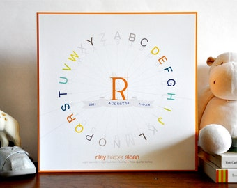 Alphabet Typography Color Wheel Birth Print 10x10 wood mounted modern nursery graphic . retro orange children decor