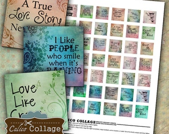 Words to Live By Digital Collage Sheet 1x1 Inch Inchies for Pendants, Bezel Settings, Resin, Glass Pendants, Decoupage Paper, Printables
