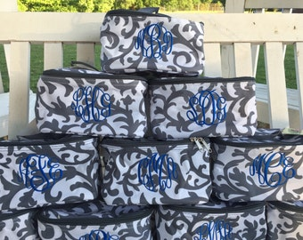 Monogrammed Bridesmaid Cosmetic bags set of 4