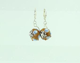 Blue & brown lampwork earrings