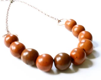 Brown beaded necklace, Tagua Nut necklace, Copper necklace