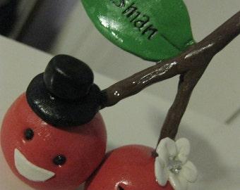 Perfect pair Custom handmade Clay Bride and Groom cherry couple