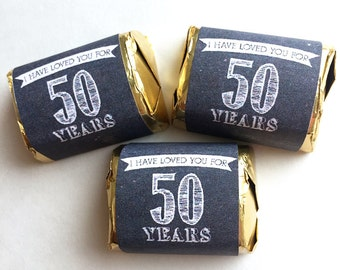 50th Wedding Anniversary Party Favor Candy Nugget Wrappers