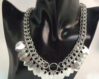 Silver/silver necklace scales scales necklace