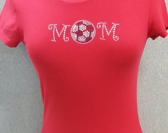 Round neck red soccer mom t-shirt