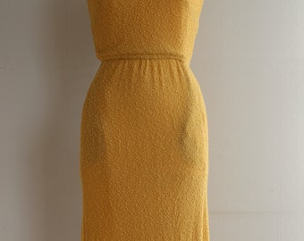 Original vintage 1950s yellow wiggle hourglass dress by 'Renate Schwill/ Siegelstoff-haute couture modele'