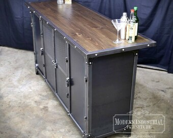 Home Bar Cabinet | Height Liquor Spirits Modern Industrial Riveted Kitchen Island Furniture | Vintage | Man Cave | Steel & Wood Warehouse