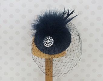 Navy Blue Birdcage Veil Fascinator silver crystal brooch Feather Mount Races netting Wedding hair comb net vintage dark blue