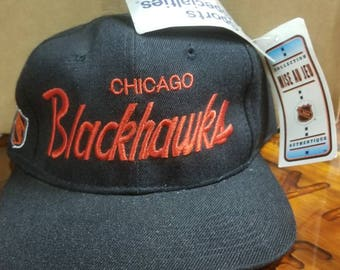 New 90s Chicago blackhawks sports specialties snapback hat new with original tags
