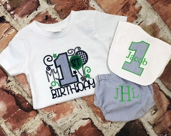 Boy Seersucker Birthday tee diaper cover  bib  first birthday outfit  first birthday hat  tie  Monogram - Initials - handmade - photo shoot