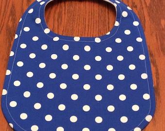 Baby Bib - Blue and White Polka Dot - Handmade