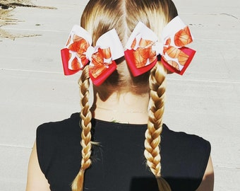 Hair Bow - Red and White Basketball Game Day Bows, Girls Hair Bow, Baby Hair Bow