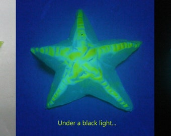 Pure Blue (solid) and Yellow Glow-in-the-Dark Star