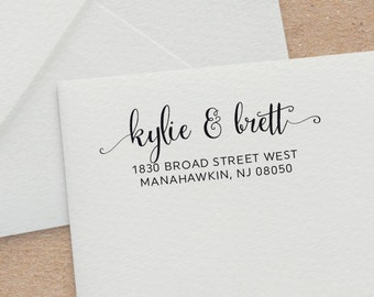 Calligraphy Address Stamp - Wedding Invitation Stamp - Customized Rubber Stamp - Self Inking Address Stamp - Wedding Gift -