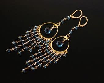 London Blue Topaz Earrings, Gold Filled, November Birthstone, Chandelier Earrings, Wire Wrapped, Luxury, Denim, Navy Royal Blue
