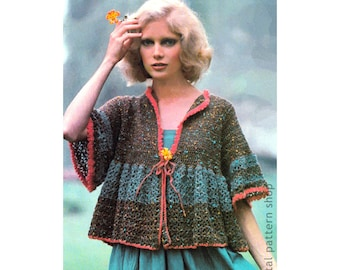 Boho Top Crochet Pattern Womens Smock Jacket Pattern Casual Sweater Instant Download PDF - C201