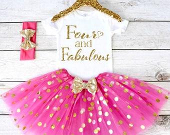 Four and Fabulous. CUSTOM AGE. Girls Birthday Outfit. Tutu Set. Birthday Shirt. Birthday Outfit Girl. 4th birthday. S4 4BD (HOTPINK)