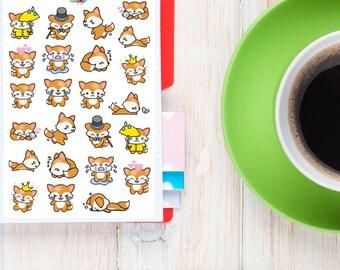 Kawaii Fox Planner Stickers | Fox Stickers | Kawaii Stickers | Cute Foxes Stickers (S-148)