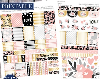 Printable planner stickers fits vertical Erin Condren, Inkwell press, Plum Paper, Filofax planners. Floral gold, black and pink two pack.