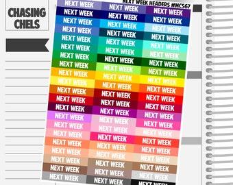 Next Week Headers #MCS67 Premium Matte Planner Stickers