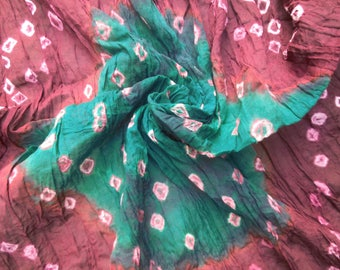 Dupatta Long Indian Traditional Clothing Scarf Cotton Bandhani Printed Decor Craft Fabric Green Veil Stole Hijab JD13