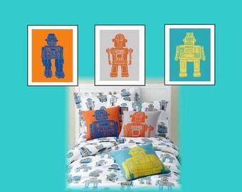 """Robot Nursery Wall Art // Robot Decor // Robot Art Prints // Robot Room Decor // Robot Nursery Decor // 3-11X14"""" Set for Toddler or Nursery"""