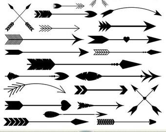 Arrows Clipart Vector Arrows Clip Art Tribal Digital Arrows Aztec Native American Doodle Scrapbooking Wedding Invitations Logo Silhouette