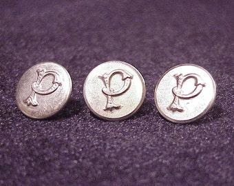 Lot of 3 Monogram Letter P Silver Tone Uniform Buttons