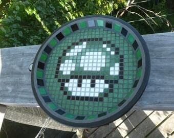 Mario Mushroom Mosaic Bird Bath - Made to Order- Geek / Nerd / 80's - choose your design and colour