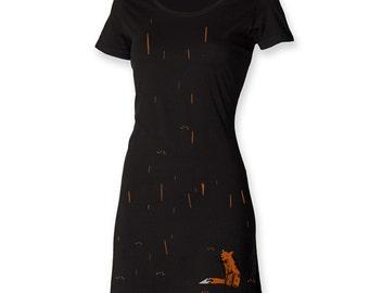 Funky t shirt dress, gift for her, women fox dress, fox in the rain, foxy tee dress, painted apparel, hipster women dress