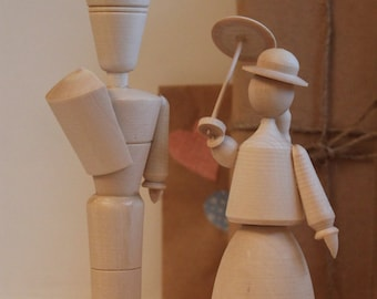 Statues/home décor/wood toy/Girl and boy