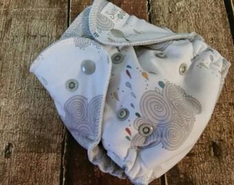 Newborn Hybrid Fitted Cloth Diaper Rain Clouds Organic Cotton