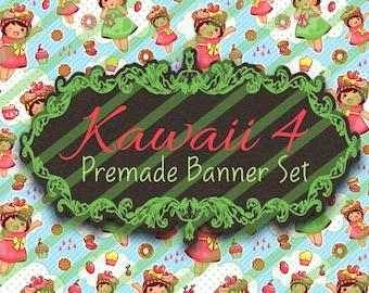 """Premade Shop Banner Set - Premade Etsy Banner Set - Etsy Shop Banner - Avatar - Facebook - """"Kawaii 4"""" Banner Set"""