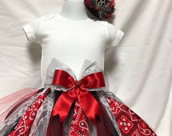 Country red and black bandana Top Hat with Feather and Crystal Details.