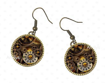 antique watch movement earrings, cabochons
