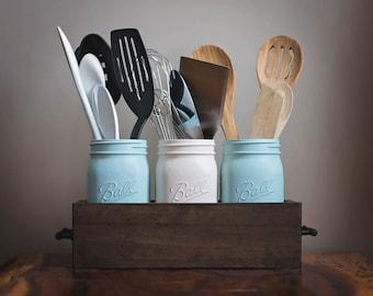 Kitchen Caddy, Kitchen Organization, Mason Jar Kitchen Utensils Holder, Kitchen Decor, Rustic Kitchen Decor