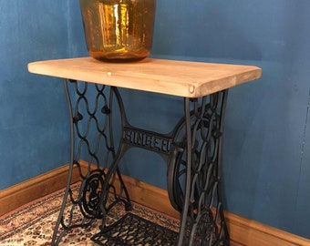 Singer Sewing Machine Treadle Table with Reclaimed Wooden Top