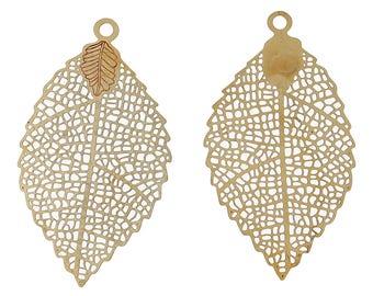 PB225 - Set of 4 charms pendants print filigree hollow sheet brass 39mm x 22mm